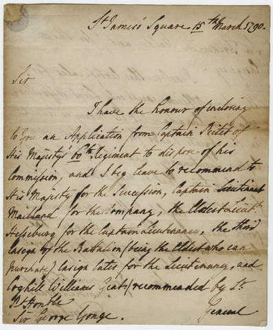 Jeffery Amherst letter to Sir George Yonge, 1790 March 15