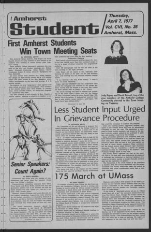 Amherst Student, 1977 April 7