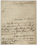 Jeffery Amherst letter to Sir George Yonge, 1791 April 1