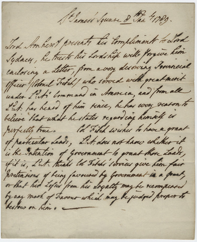 Jeffery Amherst letter to Thomas Townshend, Viscount Sydney, 1789 January 8