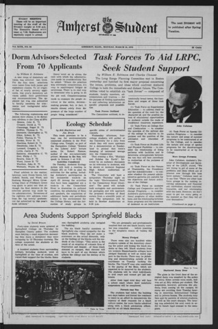 Amherst Student, 1970 March 16