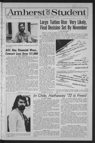 Amherst Student, 1973 October 1