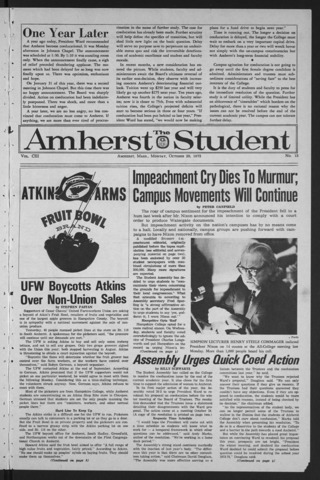 Amherst Student, 1973 October 29