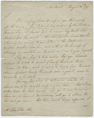 William Pitt Amherst letter to John Van Alen, 1797 August 30
