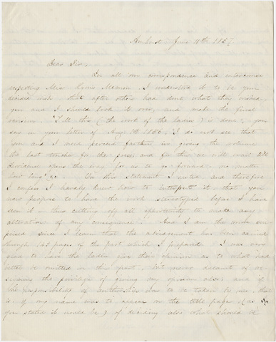 Edward Hitchcock letter to unidentified recipient, 1857 June 11
