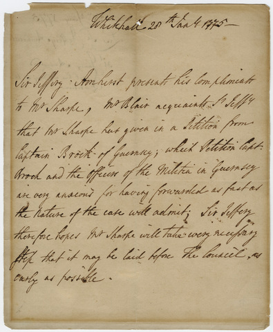 Jeffery Amherst letter to Joshua Sharpe, 1775 January 28