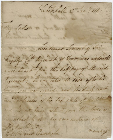 Jeffery Amherst letter to Viscount William Barrington, 1777 January 25