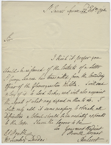 Jeffery Amherst letter to Henry Dundas 1794 February 22