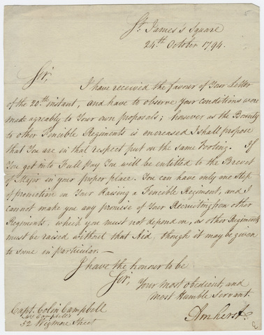Jeffery Amherst letter to Captain Colin Campbell, 1794 October 24