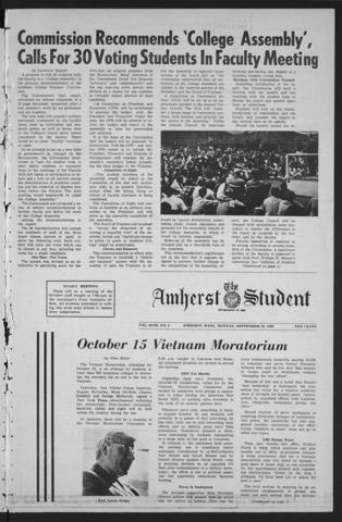 Amherst Student, 1969 September 29