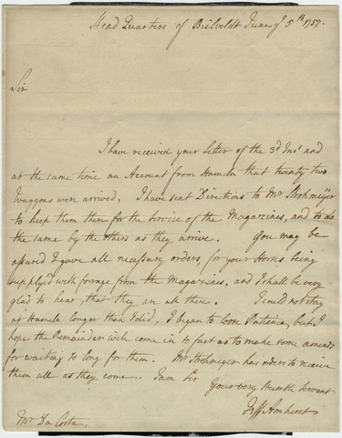Jeffery Amherst letter to Mr. Da Costa, 1757 June 5