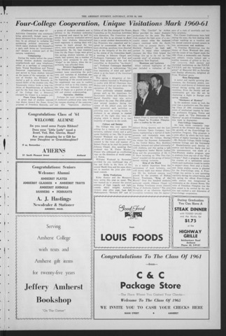 Amherst Student, 1961 June 10, Commencement issue