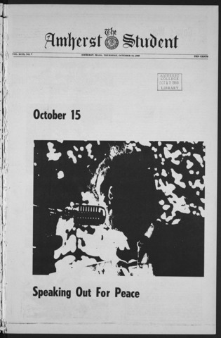 Amherst Student, 1969 October 16