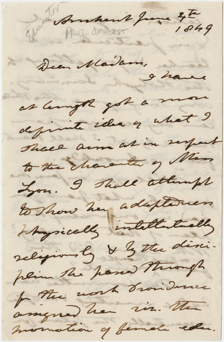 Edward Hitchcock letter to unidentified recipient, 1849 June 4
