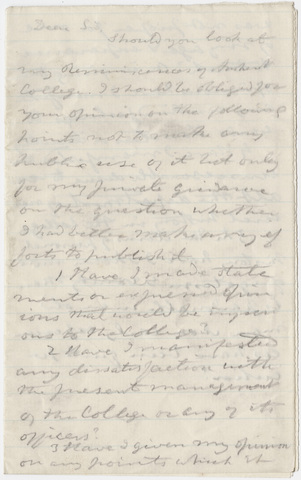Edward Hitchcock letter to unidentified recipient