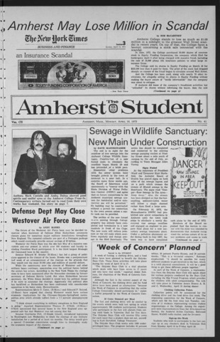 Amherst Student, 1973 April 16