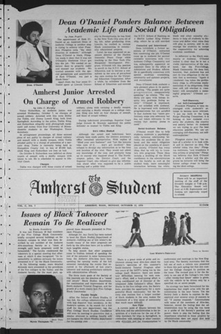 Amherst Student, 1970 October 12
