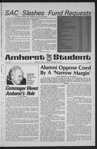 Amherst Student, 1974 October 21