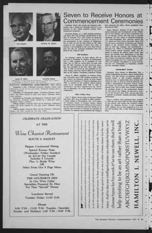 Amherst Student, 1973 May 31, Commencement issue
