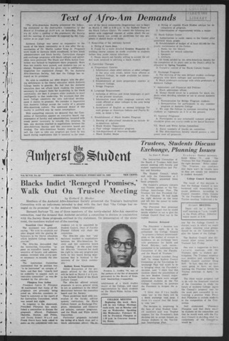 Amherst Student, 1969 February 24