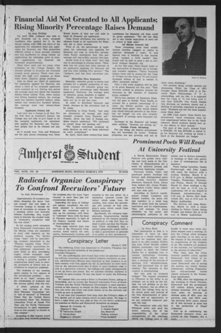 Amherst Student, 1970 March 9