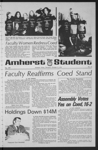 Amherst Student, 1974 October 17