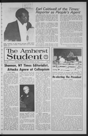 Amherst Student, 1972 October 16