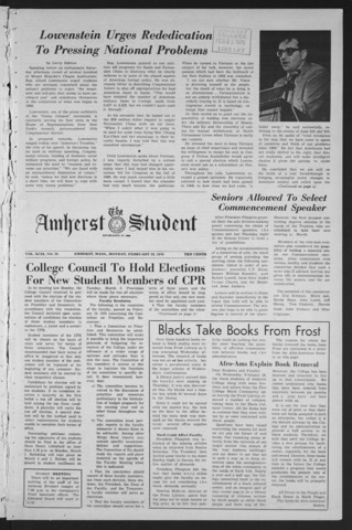 Amherst Student, 1970 February 23