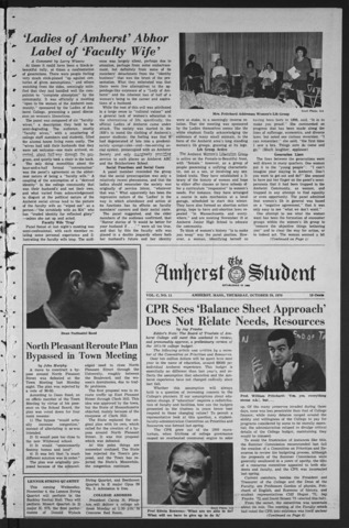Amherst Student, 1970 October 29
