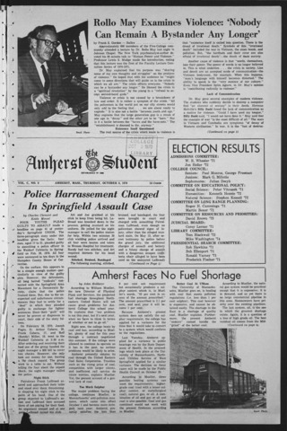 Amherst Student, 1970 October 8