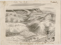 "Lydia B. Grout pencil drawing, ""Erosions on the Mamana River, Natal, South Africa"""