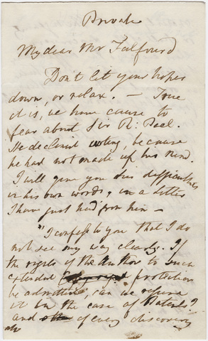 William Wordsworth letter to Thomas Noon Talfourd, 1838 May 3