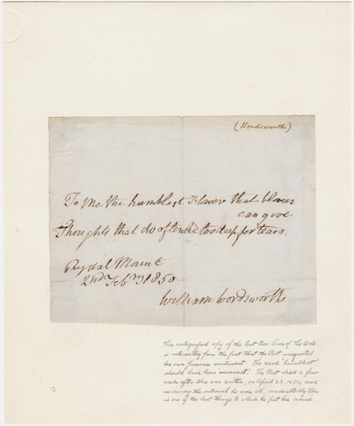 William Wordsworth autographed lines from