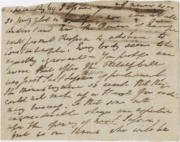 William Wordsworth letter fragment to one of his sons, [1829]