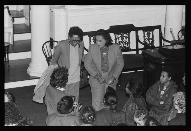 Photographs of Coretta Scott King speaking in Johnson Chapel, 1988 April 13