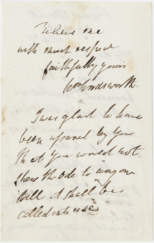 William Wordsworth letter to Thomas Attwood Walmisley, 1847 April 29