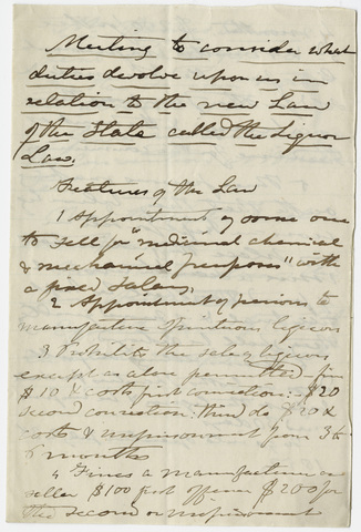 Edward Hitchcock notes for a meeting on a new liquor law