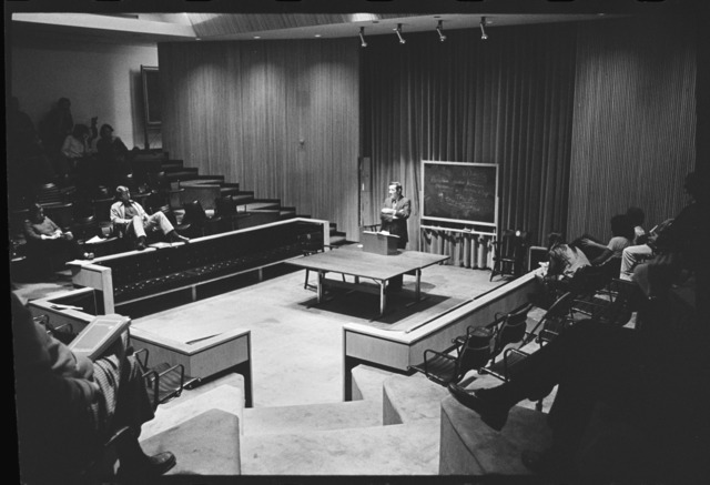 Photographs of a college meeting with President John William Ward, 1975 April 15