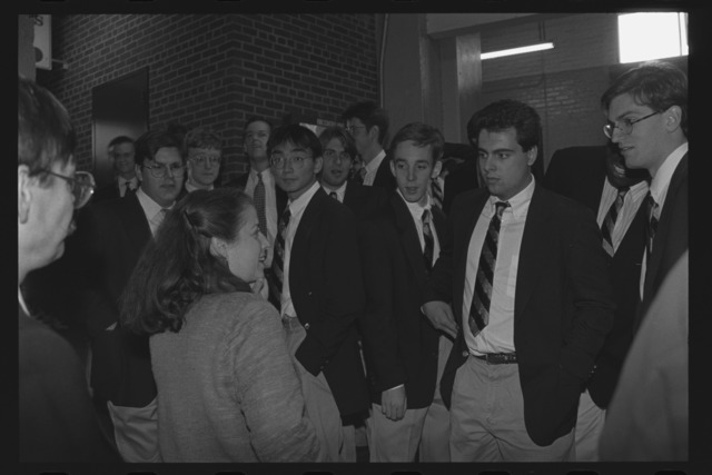 Photographs of the Amherst Glee Club performing at a Red Sox game, 1995 September