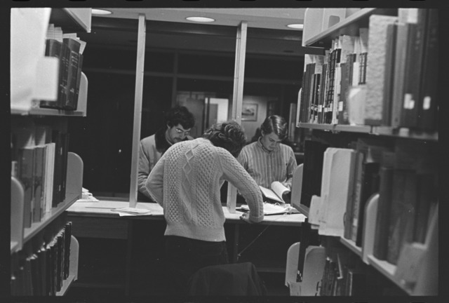 Photographs of the Robert Frost Library reserves desk, 1971 January 14