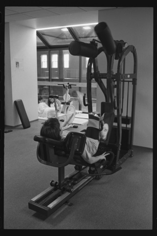 Photographs of Pratt Pool and people exercising in the Alumni Gym, 1996 December