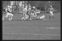 Photographs of Amherst College versus Trinity College football game, 1989 November 4