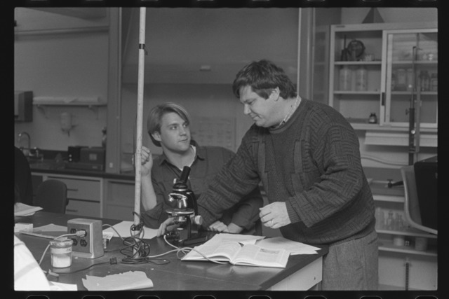 Photographs of a geology lab in session, 1990 December