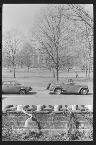 Photographs of an April Fools' Day joke outside the Mead Art Museum, 1977 April 1