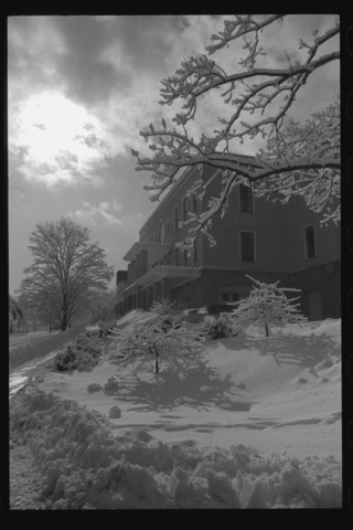 Photographs of campus with snow, 1994 January