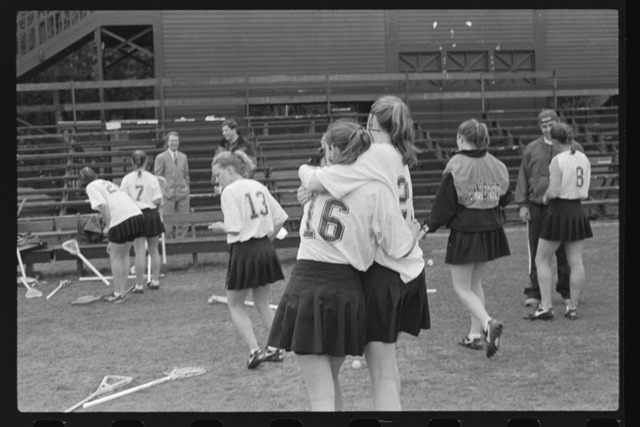 Photographs of the lacrosse team after a game, 1999 May