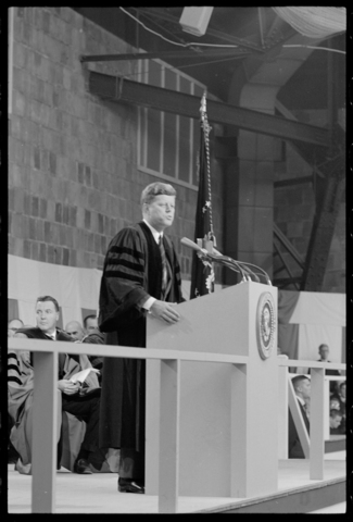 Photographs of John F. Kennedy visit to Amherst College, 1963 October 26