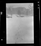 Photographs of campus with snow, 1976 March 30