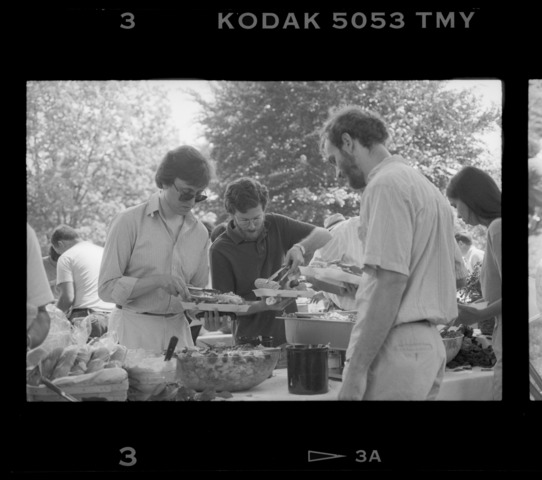 Photographs of a staff picnic on the Valentine Quad, 1992 June