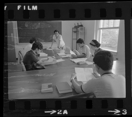 Photographs of students from Doshisha University in class, 1973 August